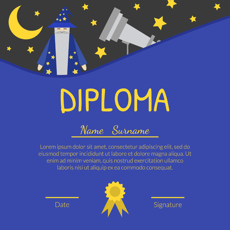 Colorful Diploma Template for Kids with Place For Your Text, Preschool, Kindergarten Children Certificate with Astronomer and Telescope Bright Vector Illustration. Imagens - 123126703