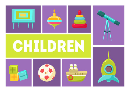 Children Banner Template, Babies Toys and Accessories Design Elements Vector Illustration Illustration
