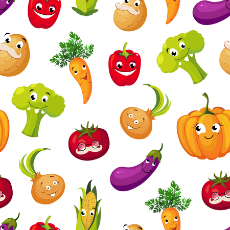 Cute Funny Vegetables Seamless Pattern, Potato, Broccoli, Tomato, Eggplant, Pumpkin, Corn, Carrot Characters with Funny Faces Vector Illustration on White Background. Illustration