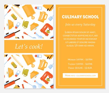 Modèle de bannière d'école de cuisine, permet de cuisiner une carte d'invitation avec place pour le texte et les ustensiles de cuisine pour la préparation des aliments Illustration vectorielle