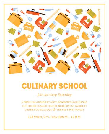 Modello di banner per scuola culinaria, biglietto d'invito con posto per testo e utensili da cucina per l'illustrazione vettoriale di preparazione del cibo, stile piatto