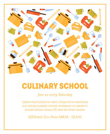 Culinary School Banner Template, Invitation Card with Place for Text and Kitchen Utensils for Food Preparation Vector Illustration, Flat Style