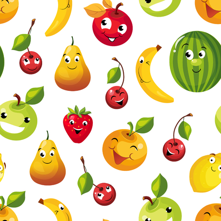 Cute Funny Fruits Seamless Pattern, Pear, Apple, Orange, Cherry, Lemon, Watermelon, Banana Characters with Funny Faces Vector Illustration