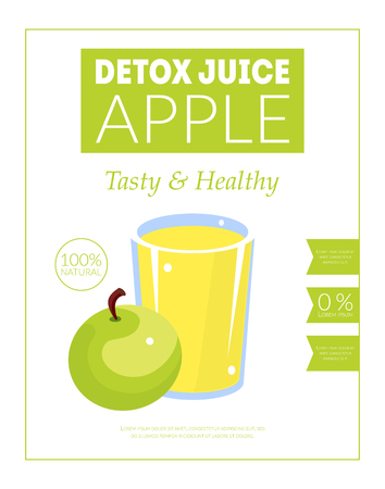 Apple Detox Juice Banner Template, Tasty and Healthy Drink Packaging, Label, Branding, Identity Vector Illustration Çizim