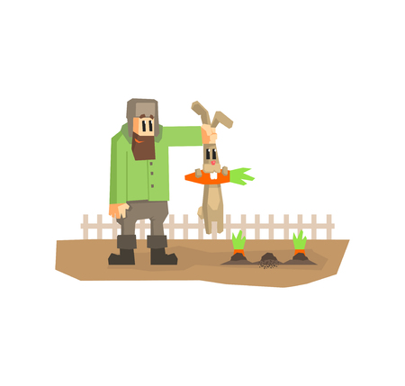 Farmer Holding Rabbit by Ears That Stole Carrot Cartton Vector Illustration on White Background.