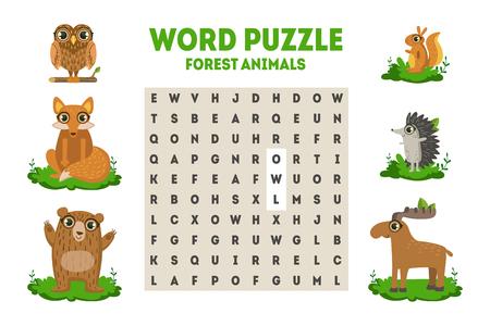 Puzzle de recherche de mots avec des animaux de la forêt, jeu éducatif pour les enfants Vector Illustration sur fond blanc..