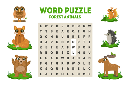 Wortsuchrätsel mit Waldtieren, Lernspiel für Kinder-Vektor-Illustration auf weißem Hintergrund..