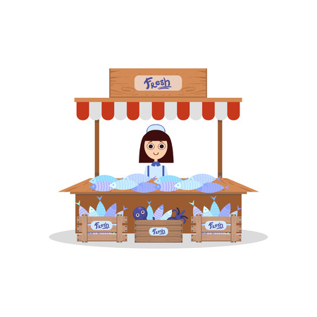Stallo in legno con pesce fresco, giovane donna che vende pesce fresco illustrazione vettoriale su sfondo bianco.