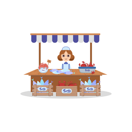 Wooden Stall with Freshness Seafood, Saleswoman Selling Fish Outdoors Vector Illustration on White Background. Illustration