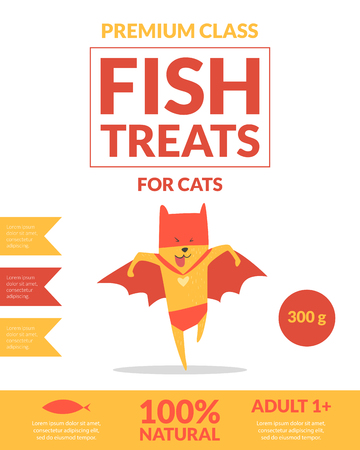 Fish Treats For Cats Banner Template Pets Food Packaging, Label, Branding, Identity Card with Cute Superhero Cat Vector Illustration
