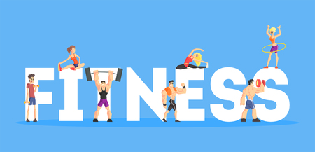 Fitness Banner Template, People Doing Diversity Exercises, Design Element Can Be Used for Landing Page, Mobile App, Wallpaper Vector Illustration in Flat Style.