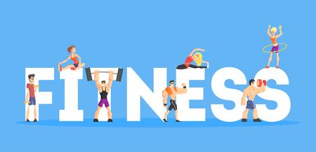 Sjabloon voor spandoek fitness, mensen die diversiteitsoefeningen doen, ontwerpelement kan worden gebruikt voor de bestemmingspagina, mobiele app, behangvectorillustratie in vlakke stijl.