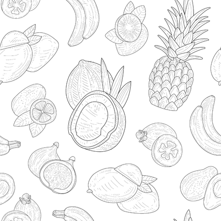 Exotic Fruits Seamless Pattern, Tropical Plants Hand Drawn Monochrome Vector Illustration