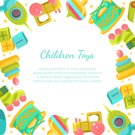 Chidren Toys Banner with Place for Text in Circular Shape Vector Illustration Çizim