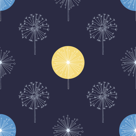 Floral Seamless Pattern with White Dandelions, Flying Flowers on Wind Vector Illustration