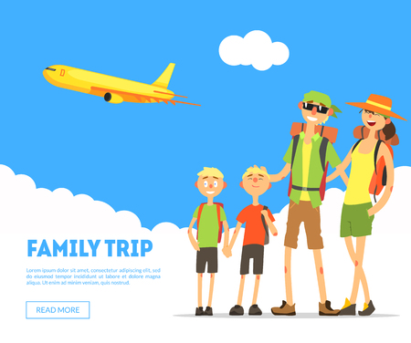 Family Trip Banner Template, Happy Parents and Sons Travelling Together, Design Element Can Be Used for Landing Page, Mobile App, Wallpaper Vector Illustration