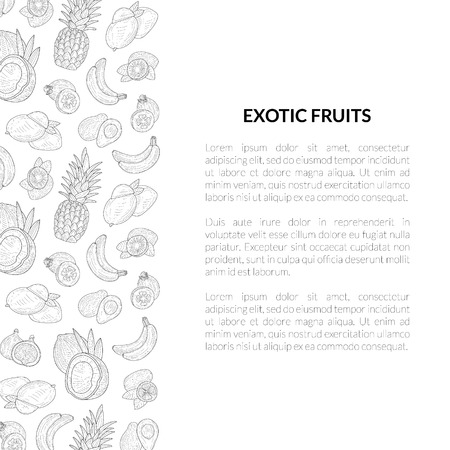 Exotic Fruits Banner Template with Place for Text, Tropical Plants Monochrome Hand Drawn Vector Illustration