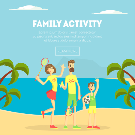Family Activity Banner Template, Happy Parents and Their Son Having Fun Together on Tropical Beach, Design Element Can Be Used for Landing Page, Mobile App, Wallpaper Vector Illustration in Flat Style.