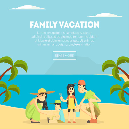 Family Vacation Banner Template, Happy Parents and Their Children on Tropical Beach, Design Element Can Be Used for Landing Page, Mobile App, Wallpaper Vector Illustration Vektorové ilustrace
