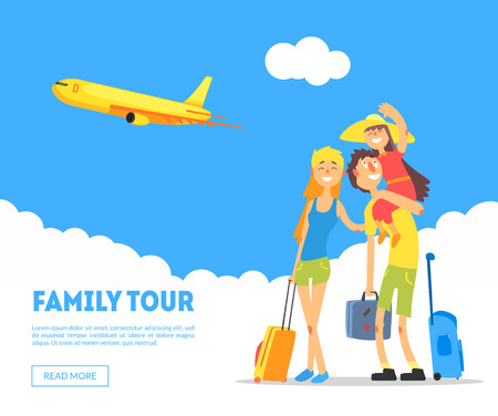 Family Tour Banner Template, Happy Parents and Their Daughter Travelling Together, Design Element Can Be Used for Landing Page, Mobile App, Wallpaper Vector Illustration