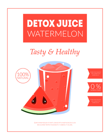 Watermelon Detox Juice Banner Template, Tasty and Healthy Drink Packaging, Label, Branding, Identity Vector Illustration, Web Design