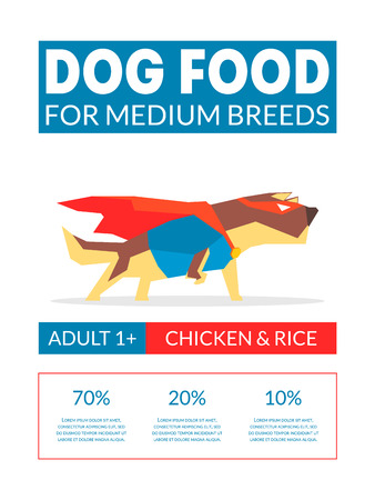 Dog Food Banner Template For Pets Food Packaging, Label, Branding, Identity Card with Cute Superhero Dog Vector Illustration