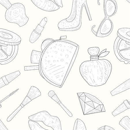 Beauty and Fashion Seamless Pattern, Makeup Products, Cosmetics Hand Drawn Vector Illustration on White Background. Standard-Bild - 123126723