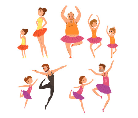 Ballet girls and their fathers in tutu dress dancing in ballet studio cartoon vector Illustrations isolated on a white background.