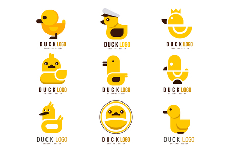 Duck logo set, design elements with yellow toy rubber duck for your own design vector Illustrations on a white background