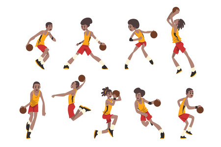 Basketball player set, athletes in uniform playing with ball vector Illustrations isolated on a white background.