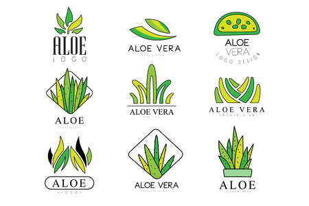 Aloe Vera logo design set, natural product green badges, organic cosmetics, health care and beauty label vector Illustrations on a white background Иллюстрация