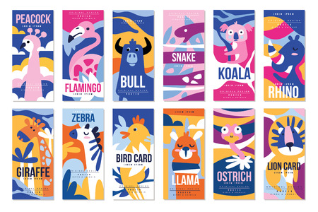 Birds and animals poster set, design element with peacock, flamingo, bull, giraffe, zebra, bird, leopard, crocodile can be used for banner, greeting card, baby shower, birthday party, invitation vector Illustration, web design