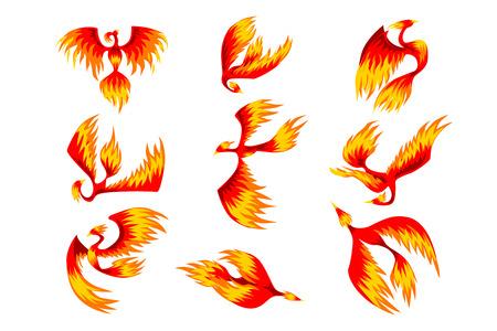 Flaming Phoenix Bird Set, Märchenfigur aus slawischen Folklore Vektor Illustrationen auf einem weißen Hintergrund