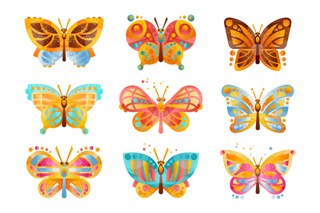 Beautiful colorful butterflies set vector Illustrations isolated on a white background.