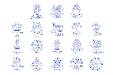 Florist shop logo premium set, flower boutique badges hand drawn vector Illustrations in blue colors on a white background