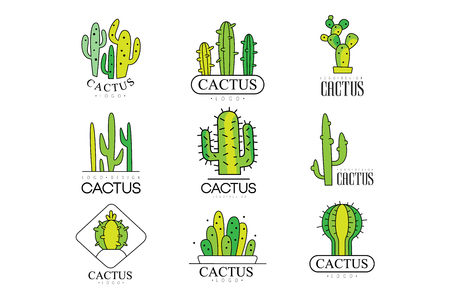 Cactus logo design set, desert plant green badges vector Illustrations on a white background Illustration