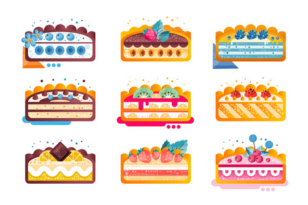 Piece of layered delicious cake set, cakes with various ingredients with fruits and berries on top vector Illustration isolated on a white background. Ilustração