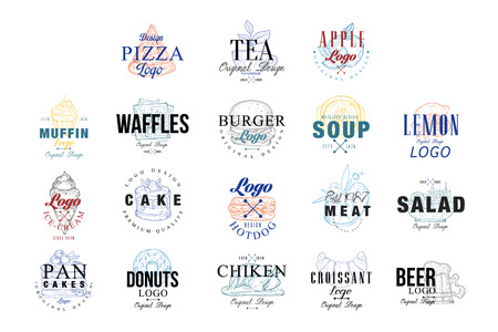 Food logo design set, muffin, waffles, burger, cake, hotdog, pancakes, donut, chiken, ice crem emblems for cafe, restaurant, cooking business, food shop, brand identity vector Illustrations Illustration