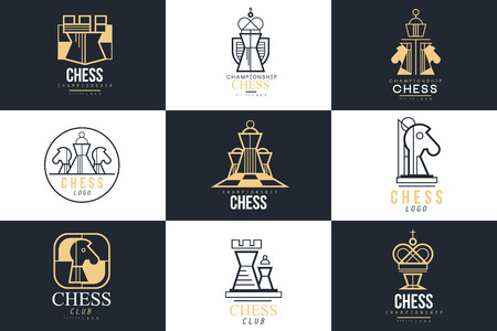 Chess logo set, design element for championship, tournament, chess club, business card, vlack and white vector Illustration Illusztráció
