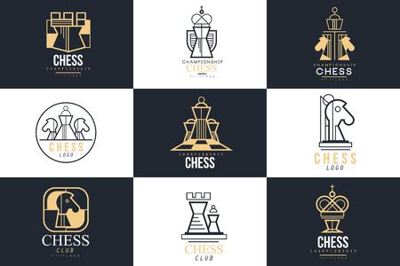 Jeu de logo d'échecs, élément de conception pour le championnat, tournoi, club d'échecs, carte de visite, vlack et vecteur blanc Illustration Logo