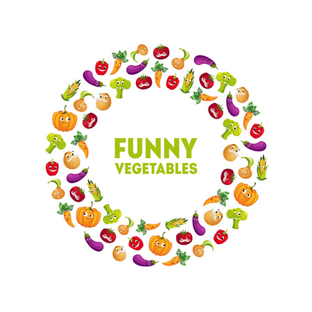 Funny Vegetables Banner Template Round Frame, Design Element can Be Used for Grocery Shop Label, Cafe Menu, Food Packaging Vector Illustration on White Background.