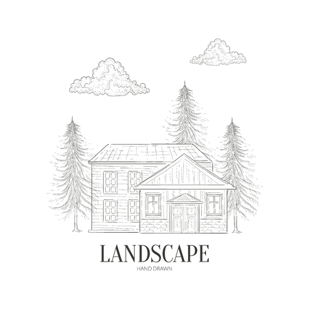 Wooden Cabin and Pine Forest, Wild Countryside Landscape Hand Drawn Vector Illustration on White Background. Illustration