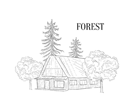 Forest and Wooden Cabin, Wild Countryside Landscape Hand Drawn Vector Illustration on White Background. Illustration