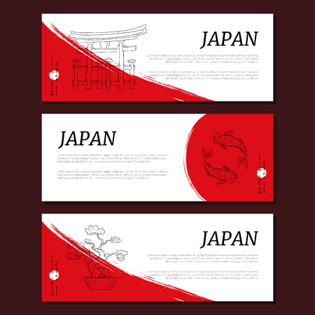 Japan Horizontal Banners Templates Set, Card with Traditional Oriental Symbols Vector Illustration Иллюстрация