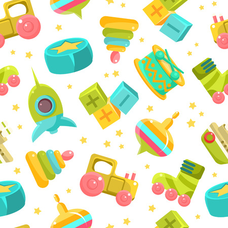 Chidren Toys Seamless Pattern, Design Element Can Be Used for Fabric, Wallpaper, Packaging Vector Illustration on White Background