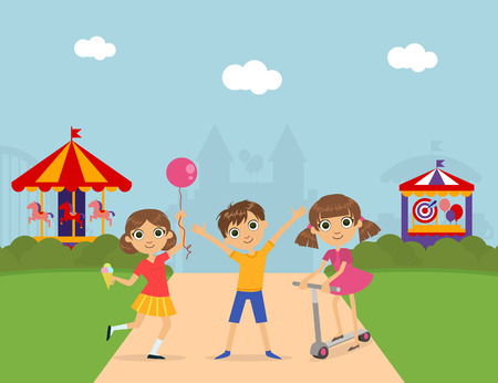Cute Children at Amusement Park, Summer Landscape with Carousels and Castle Vector Illustration Illustration