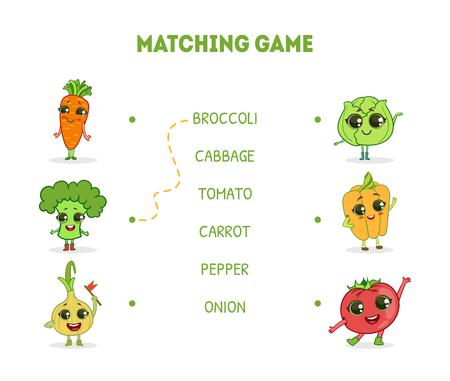 Passendes Spiel mit niedlichen Gemüse-Charakteren, Wort-Matching-Quiz-Lernspiel für Kinder-Vektor-Illustration