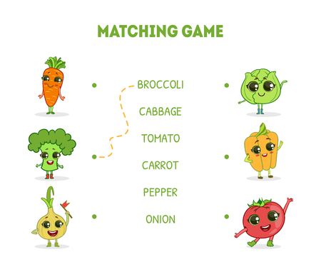 Matching Game with Cute Vegetables Characters, Word Matching Quiz Educational Game for Kids Vector Illustration