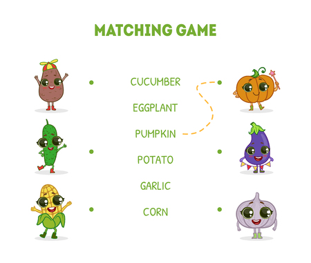 Game with Cute Funny Vegetables Characters, Word Matching Quiz Educational Game for Kids Vector Illustration on White Background.