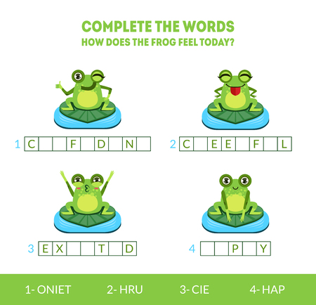 Complete the Words, How Does the Frog Feel Today, Matching Game with Cute Amphibian Animal Character, Educational Game for Kids Vector Illustration on White Background.